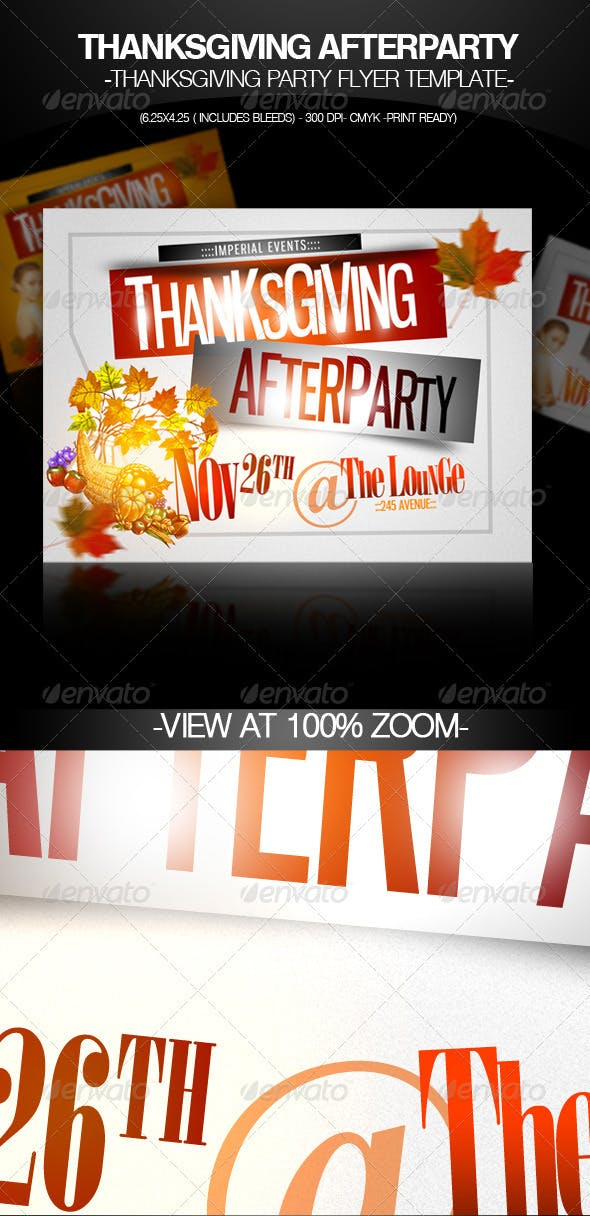 thanksgiving afterparty party flyer template by imperialflyers