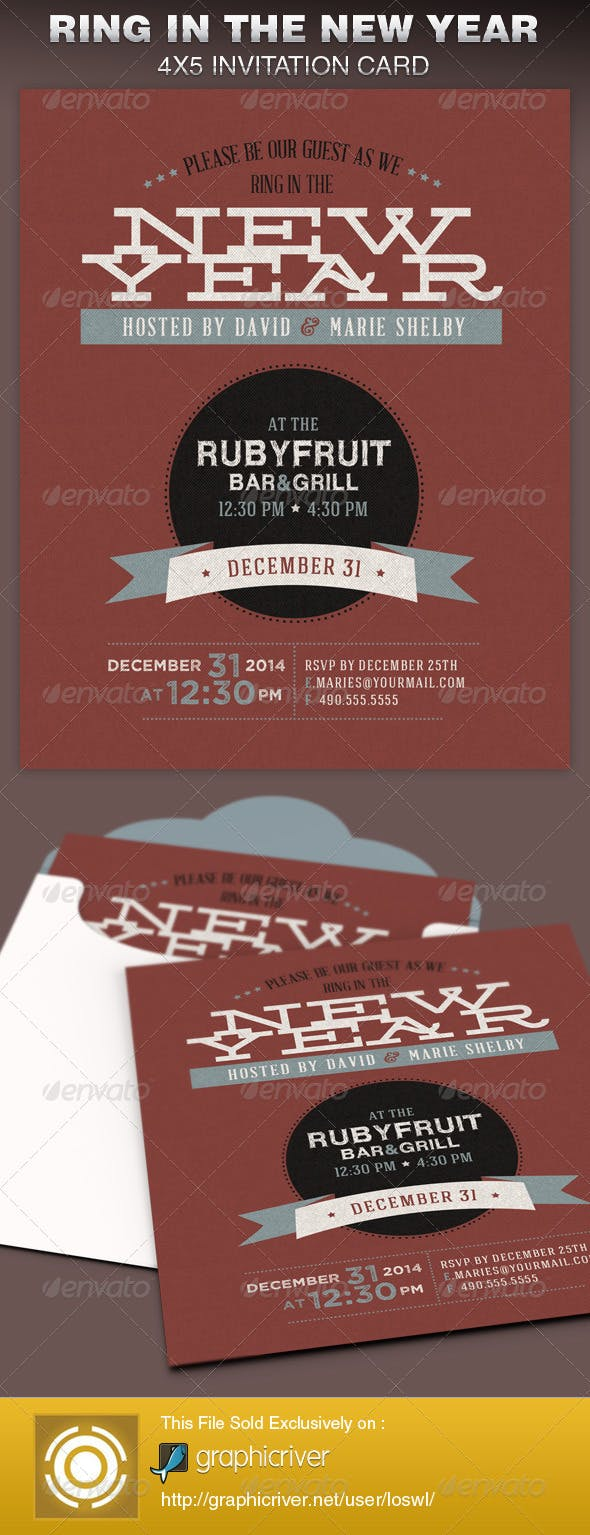 Ring In The New Year Party Invite Card Template By Loswl Graphicriver
