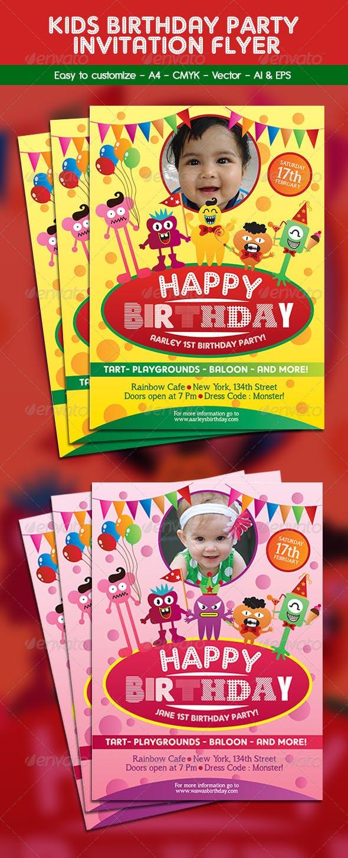 kids birthday party invitation flyer by arifpoernomo graphicriver