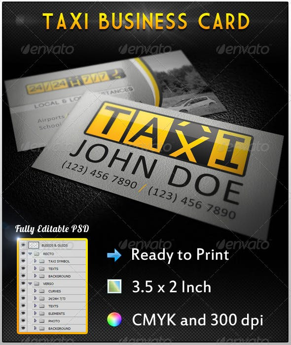 Taxi Business Card By Aloisc Graphicriver