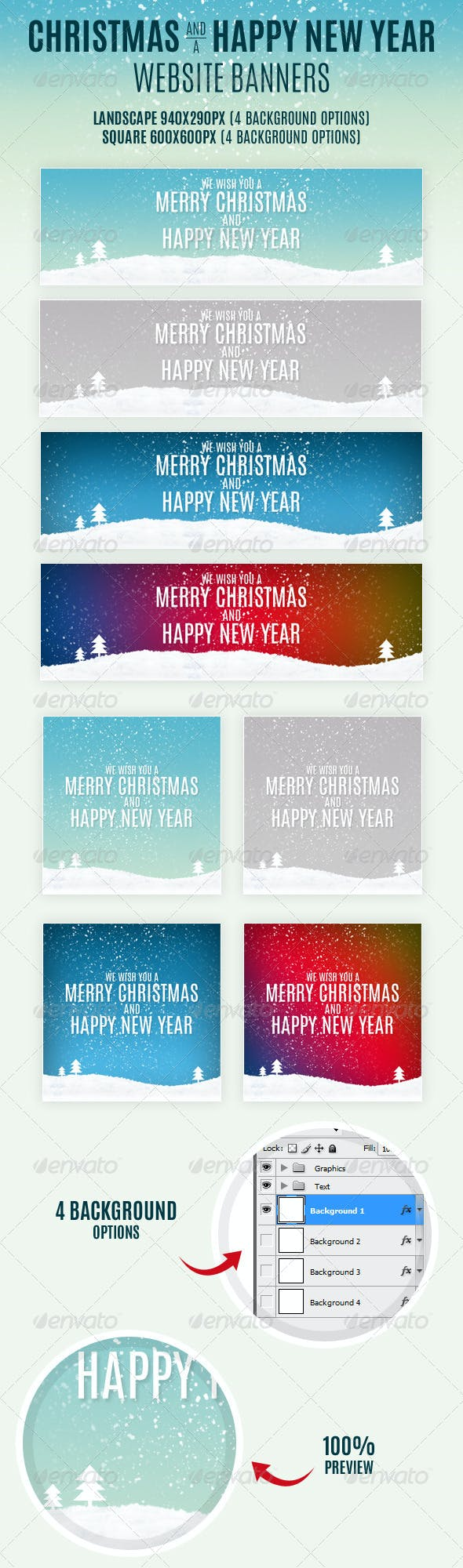 christmas and happy new year website banners banners ads web elements