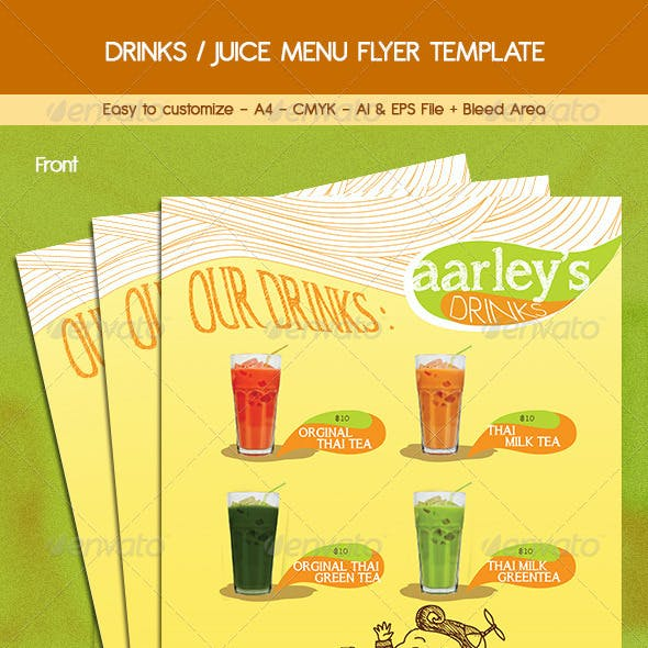drink menu flyer graphics designs templates from graphicriver