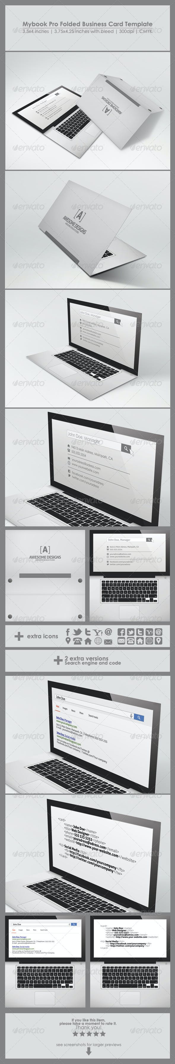 mybook pro folded business card template by zeppelin graphics