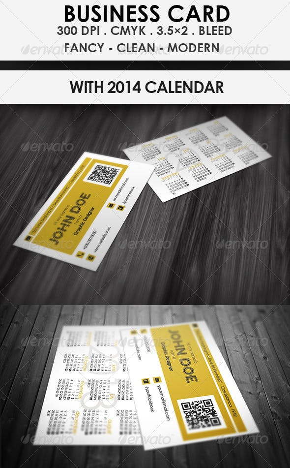 Calendar Business Card 2014 By Stevow Graphicriver