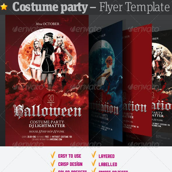 costume party flyer graphics designs templates