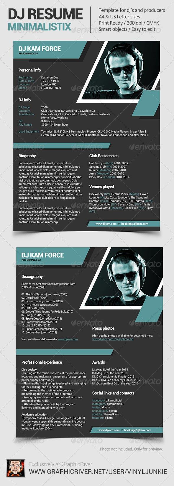 Minimalistix Dj Resume Press Kit By Vinyljunkie Graphicriver Resumes Stationery