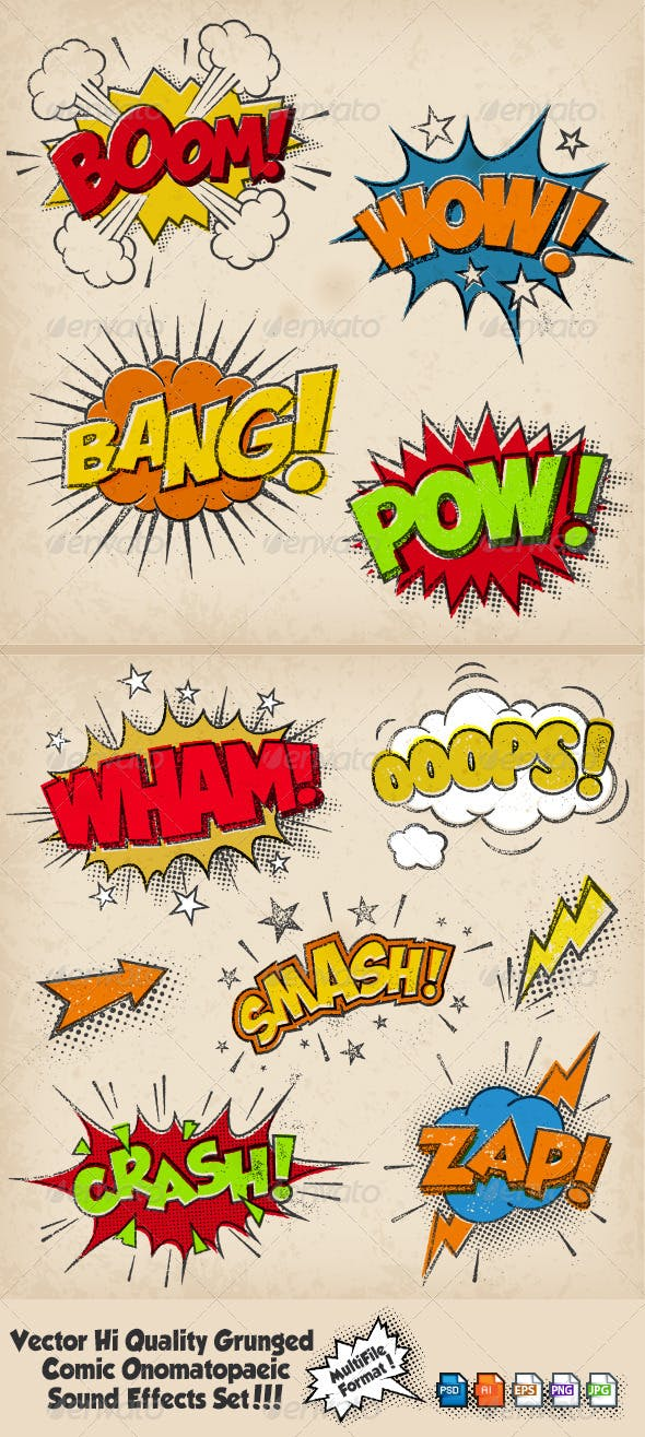 grunged multicolored comic sound effects by fourleaflover graphicriver