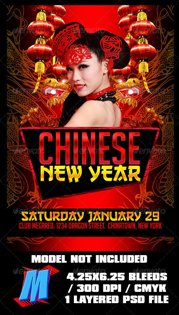 chinese new year flyer template holidays events