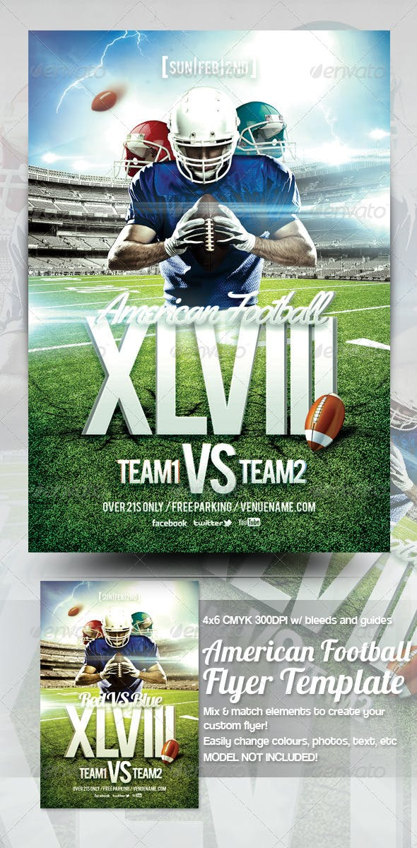 American Football Flyer Template By Mrkra Graphicriver