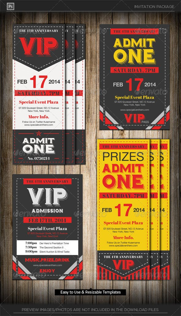 admit one vip ticket invitation template by katzeline graphicriver