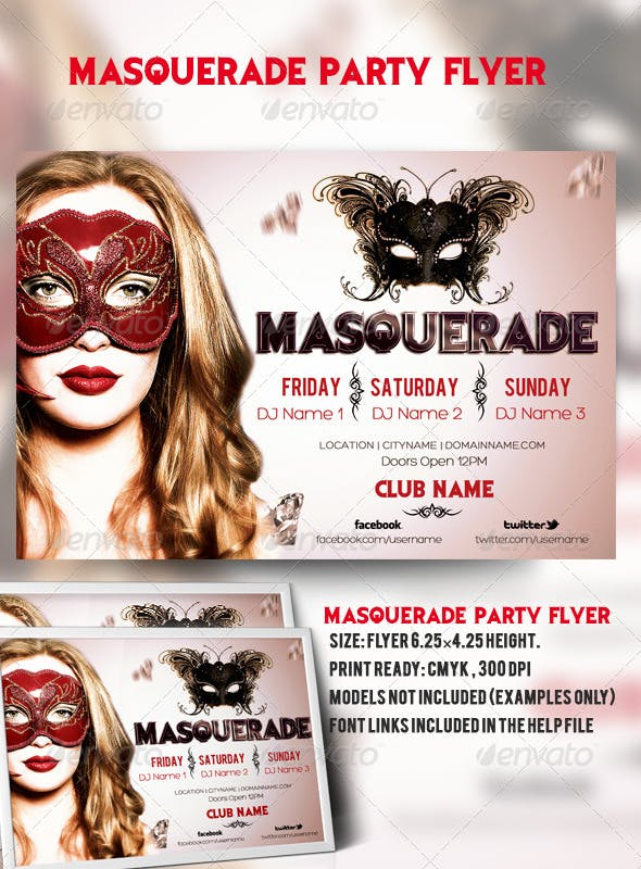masquerade party flyer by azadcsstune graphicriver