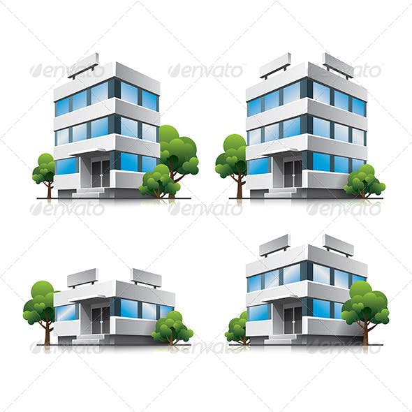 Office Buildings Cartoon Icons By Petov Graphicriver