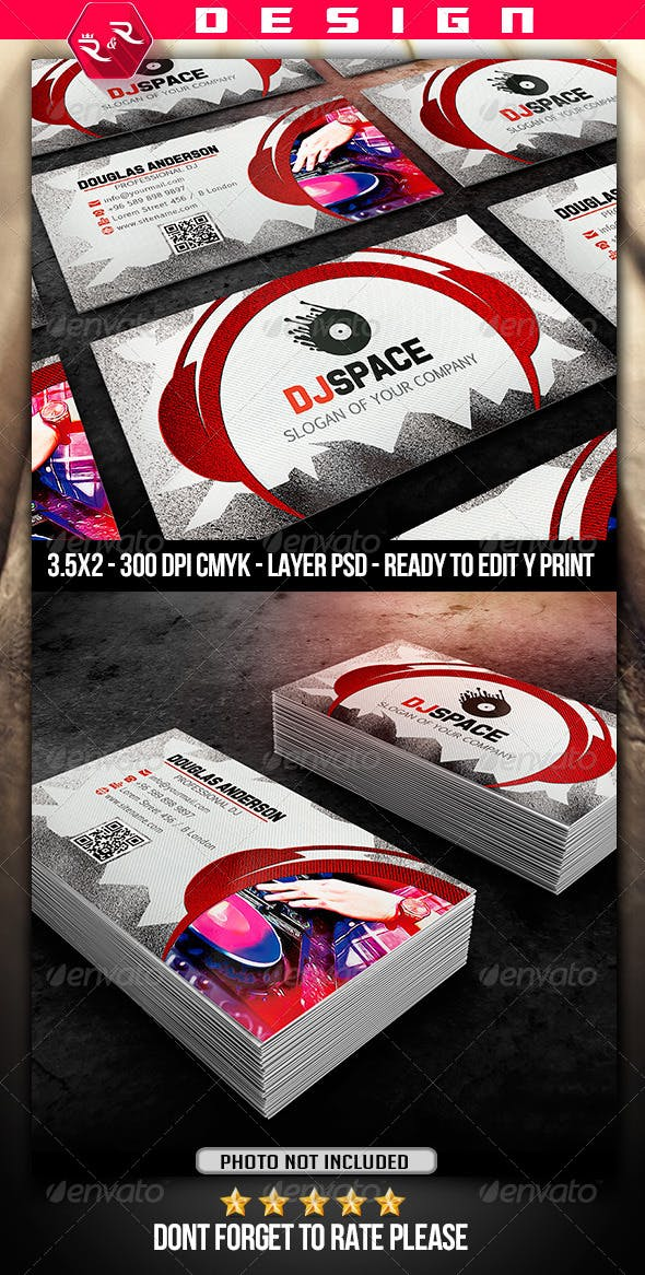 dj business card template by grafiskoink graphicriver