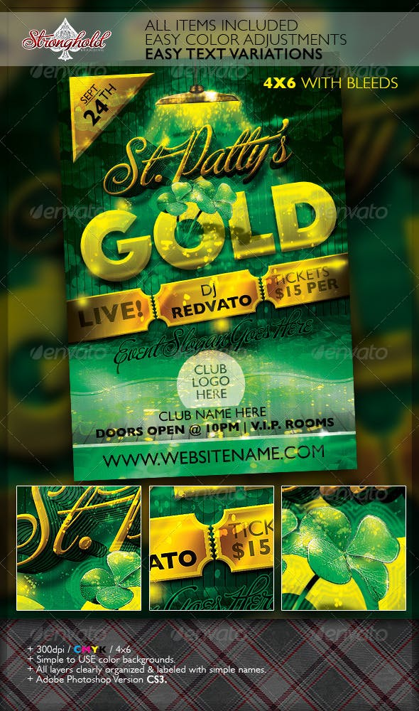 st patrick s day gold event flyer template by getstronghold