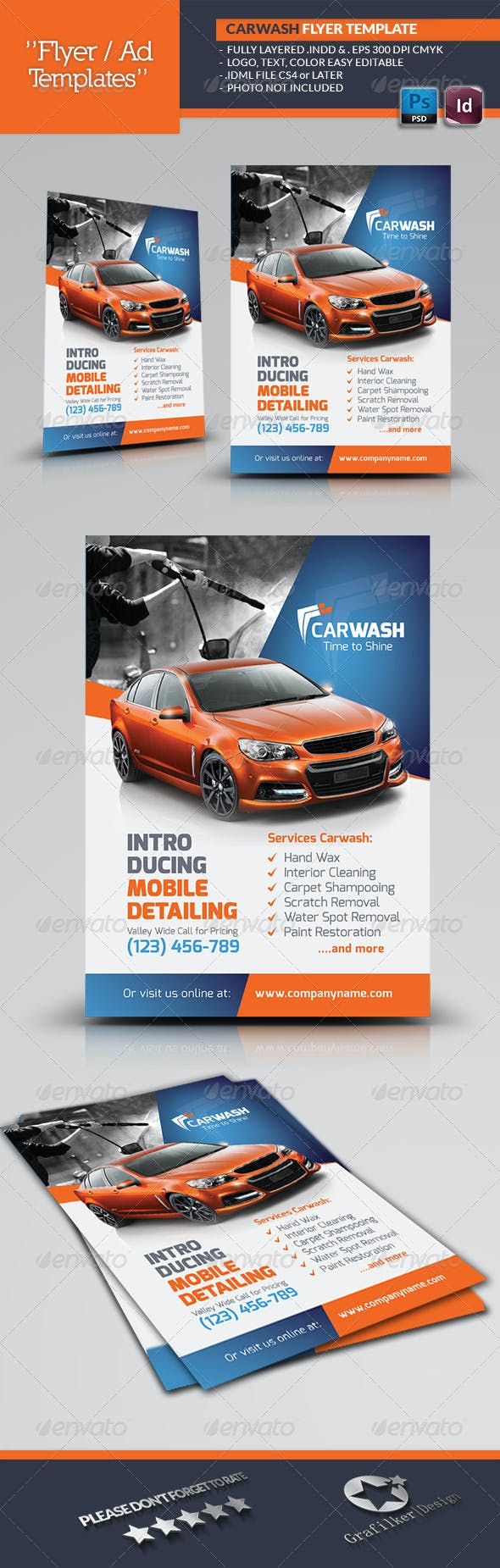 car wash flyer templates by grafilker graphicriver