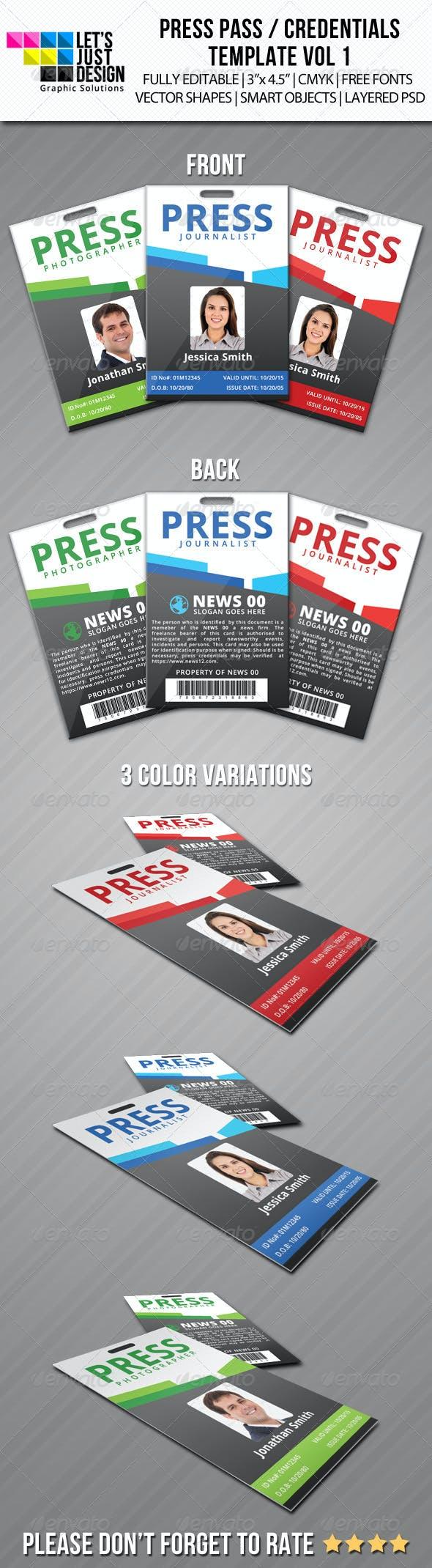 press pass credentials template vol 1