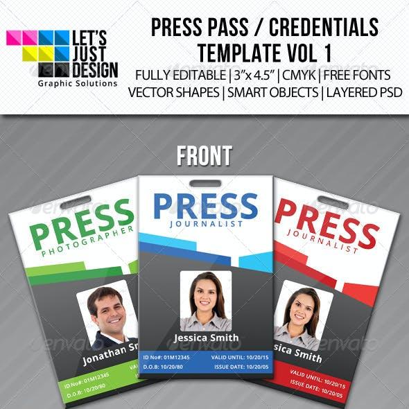 press pass credentials template vol 1 by letsjustdesign graphicriver