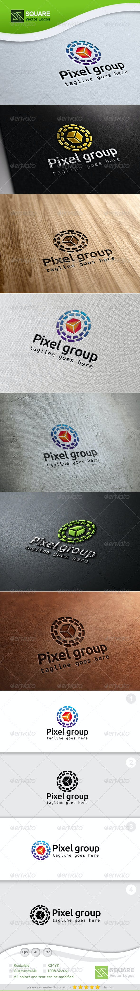 pixel circle vector logo template by svlogos graphicriver