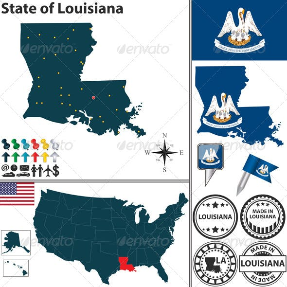 Map Of State Louisiana Usa By Sateda2012 Graphicriver