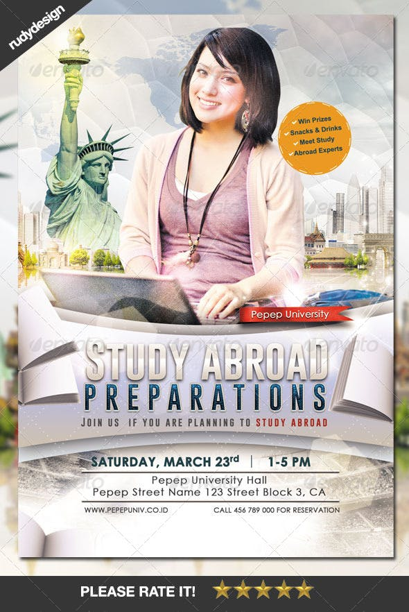 study abroad school college flyer template by rudydesign graphicriver