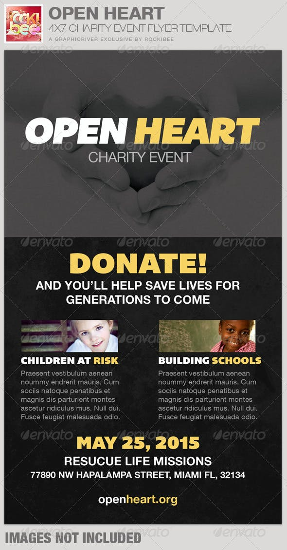 open heart charity event flyer template by rockibee graphicriver
