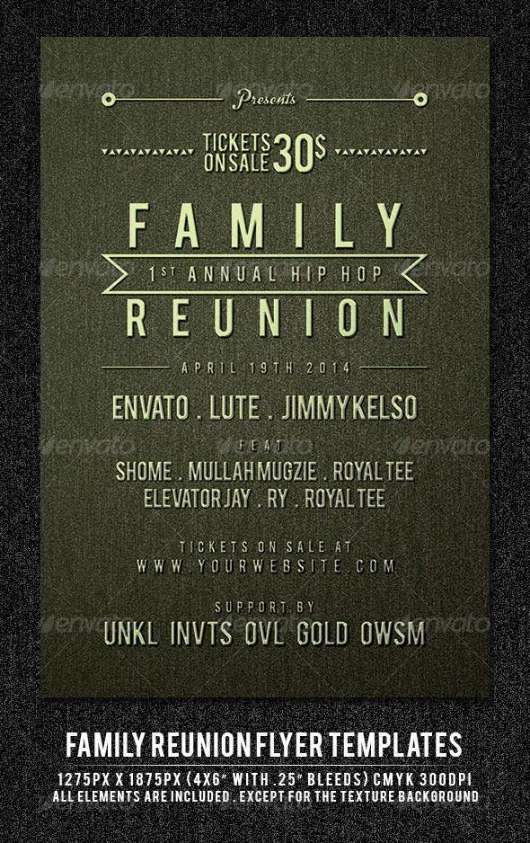 family reunion flyer template by maulanacreative graphicriver