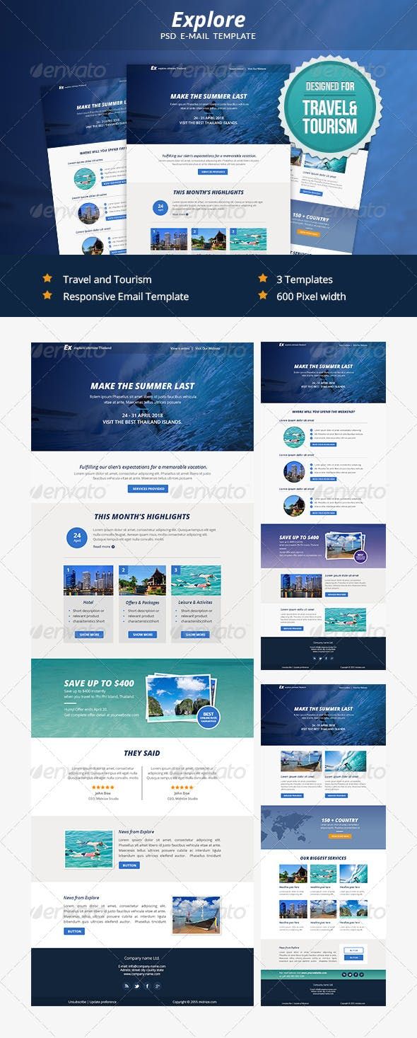 explore travel psd email newsletter template by smythemes