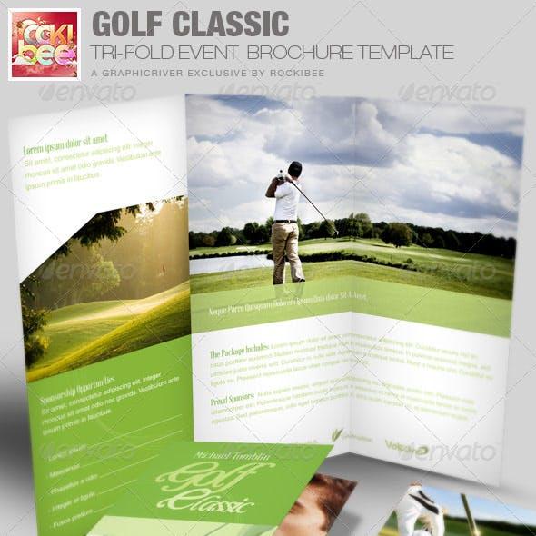 golf classic event tri fold brochure template