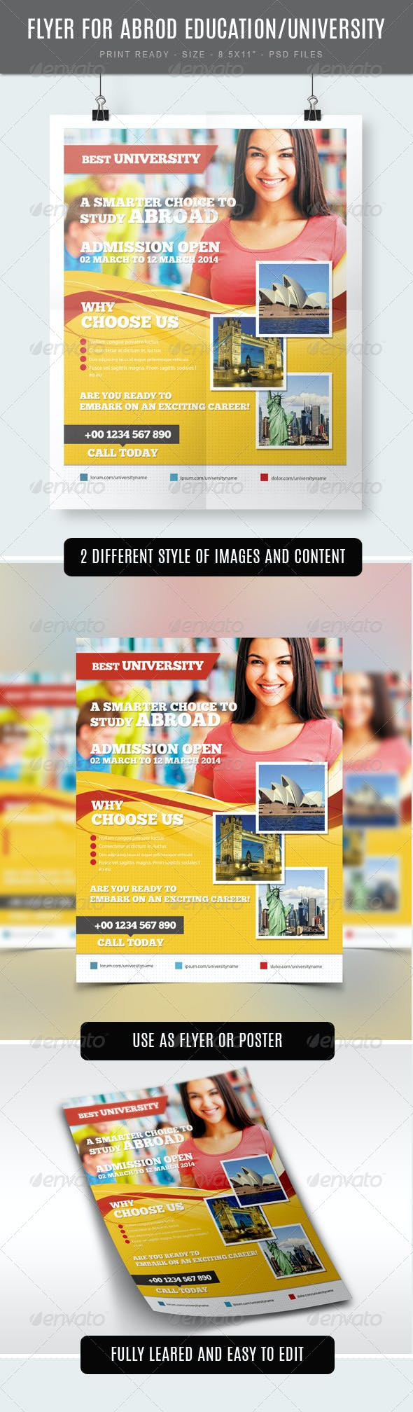 study abroad university college flyer template by studiorgb