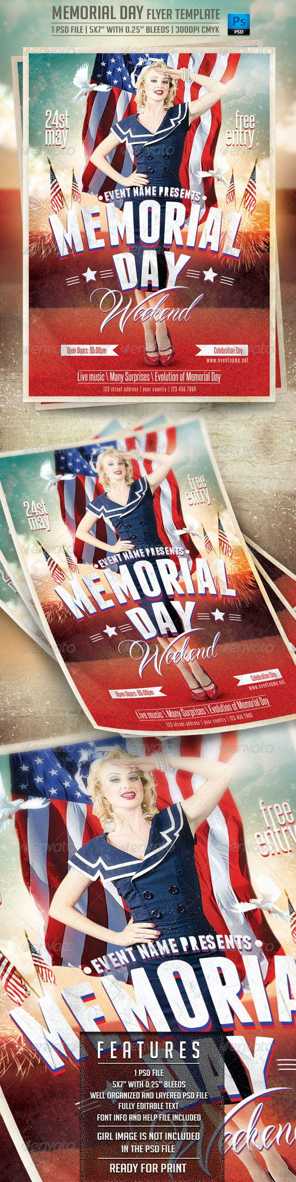 memorial day flyer template by briell graphicriver