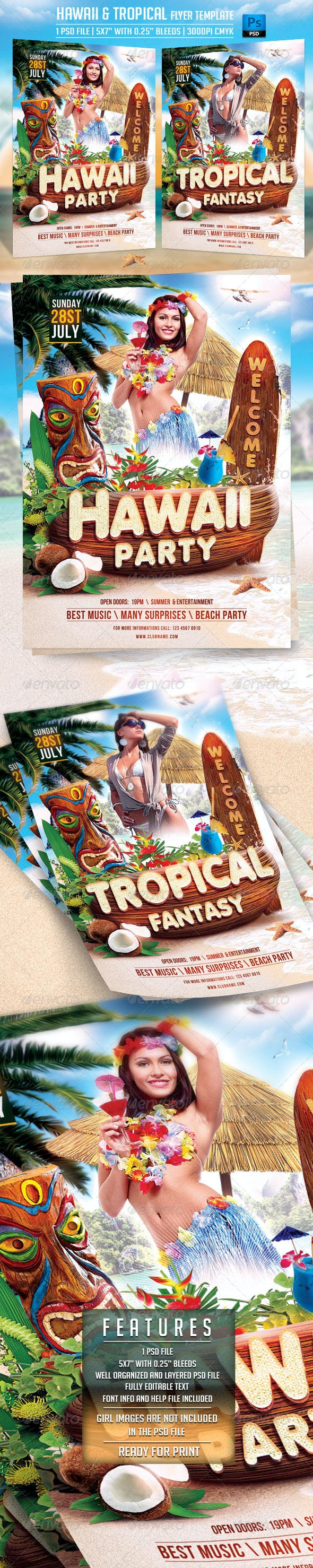 hawaii and tropical flyer template by briell graphicriver