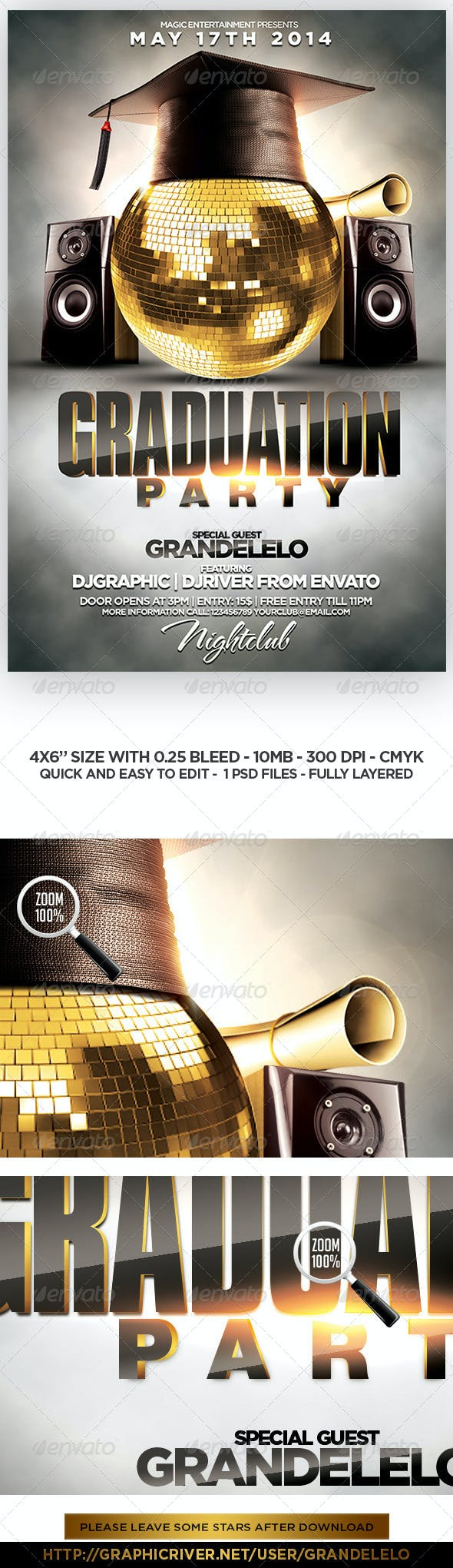 Graduation Party Flyer Template By Grandelelo Graphicriver