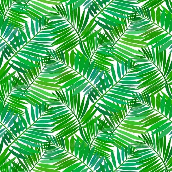 Seamless Pattern With Tropical Palm Leaves By Tukkki GraphicRiver Custom Tropical Leaves Pattern