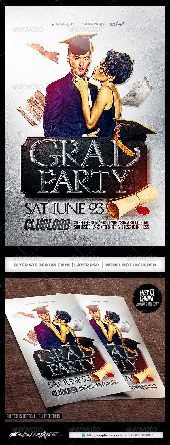 Graduation Party Flyer Template By Industrykidz Graphicriver