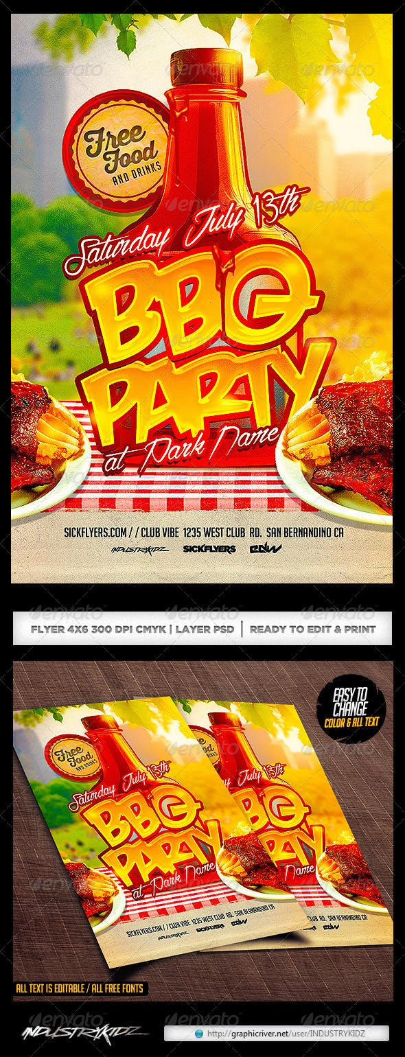 bbq party flyer template psd by industrykidz graphicriver