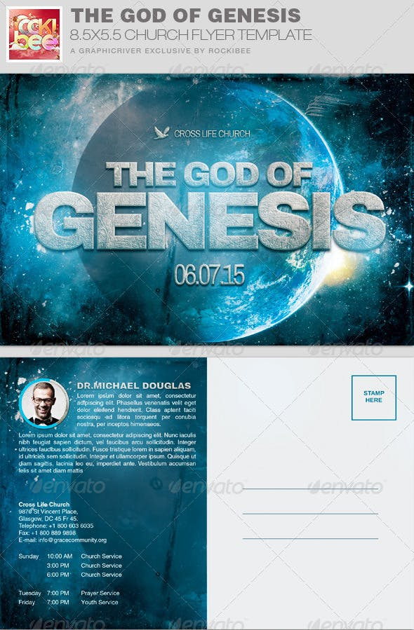 The God Of Genesis Church Flyer Invite Template By Rockibee