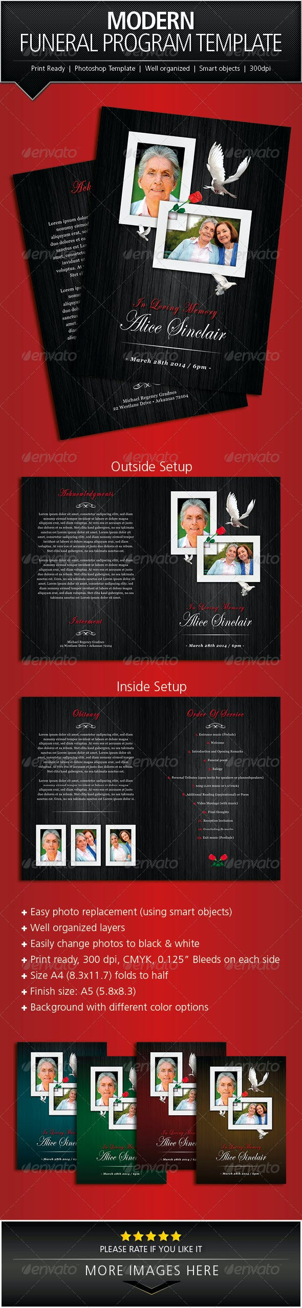 modern funeral program brochure template by designs4u graphicriver