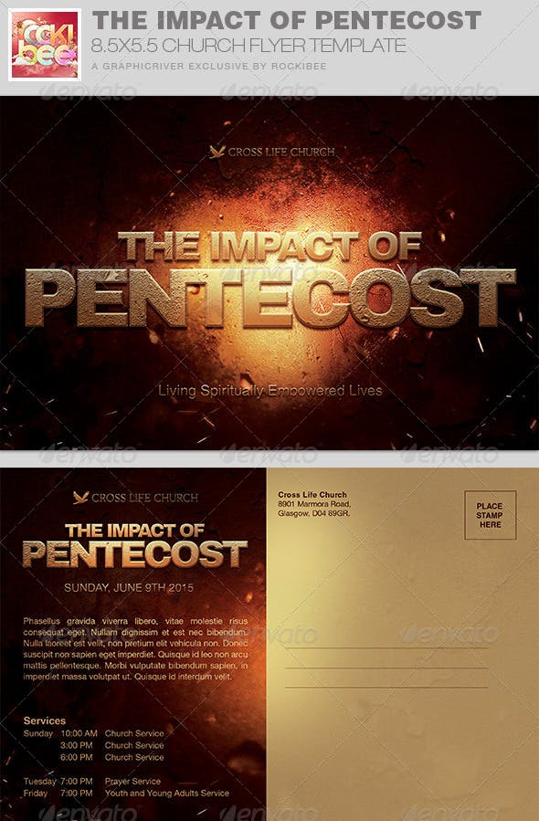 The Impact Of Pentecost Church Flyer Invite By Rockibee Graphicriver