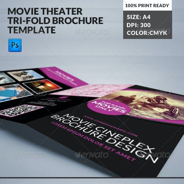 Movie Theater Cinema Hall Tri Fold Brochure