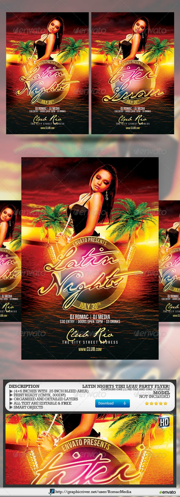 latin nights tiki luau flyer by romacmedia graphicriver