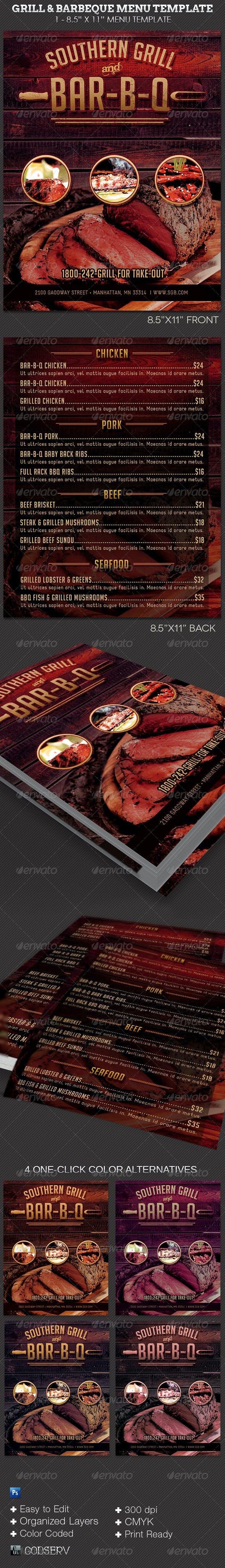 grill barbecue restaurant menu template by godserv graphicriver
