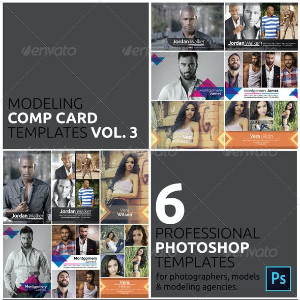 Modeling Comp Card Graphics Designs Templates