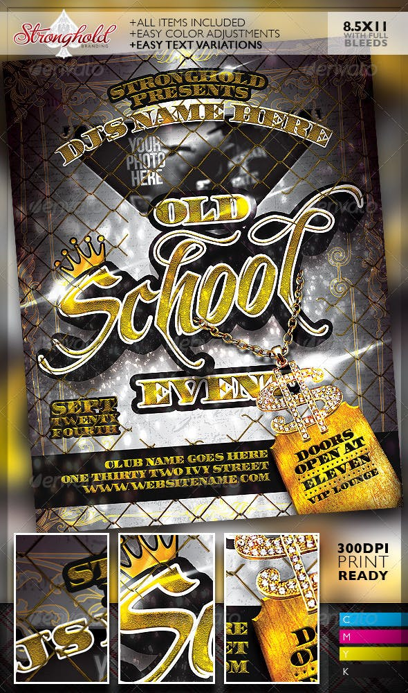old school gold event flyer template by getstronghold graphicriver