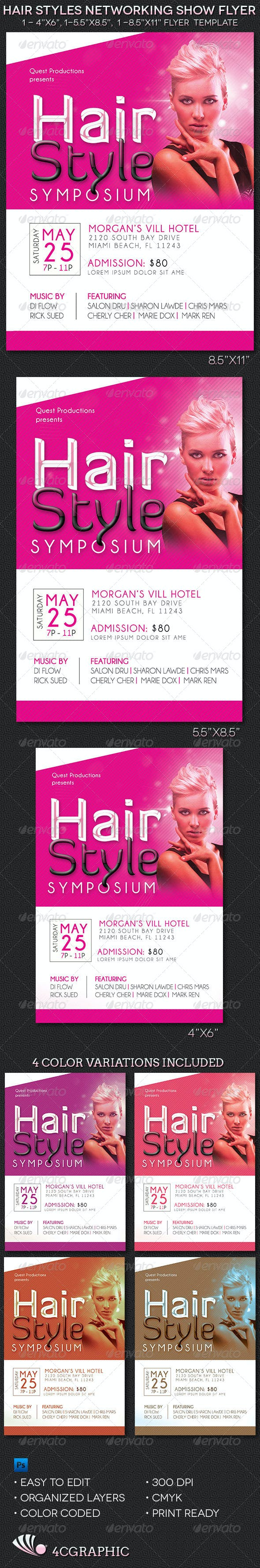 Hair Styles Networking Show Flyer Template Events Flyers