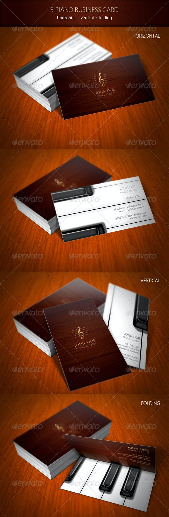 3 Piano Business Card By Progmatika Graphicriver