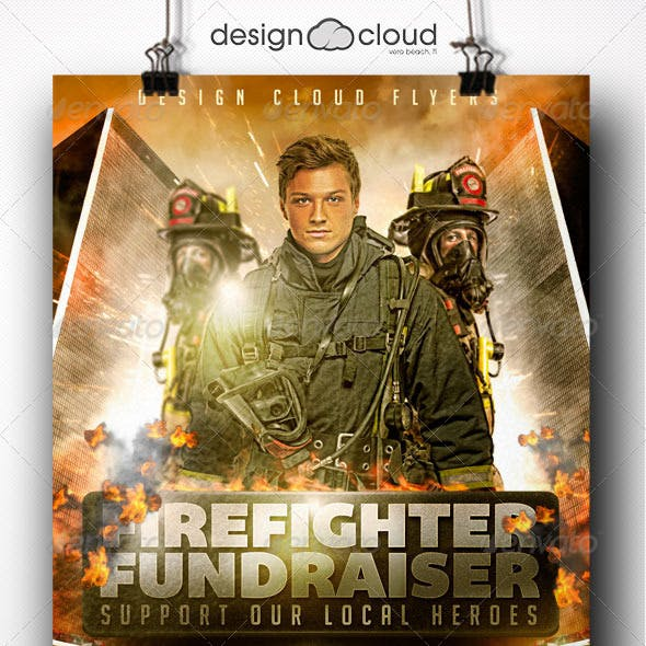 fire fighter fundraiser event flyer template by design cloud