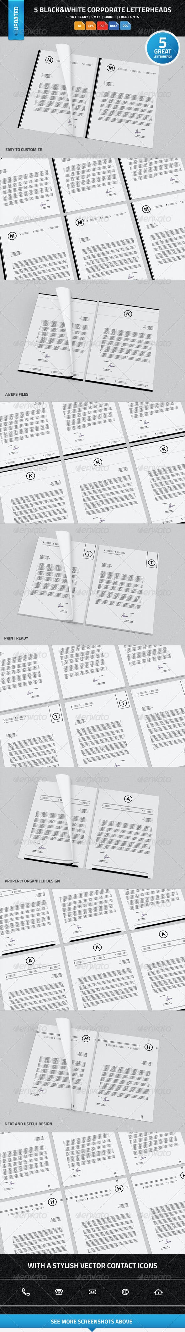 5 black white corporate letterheads with ms word by nazdrag
