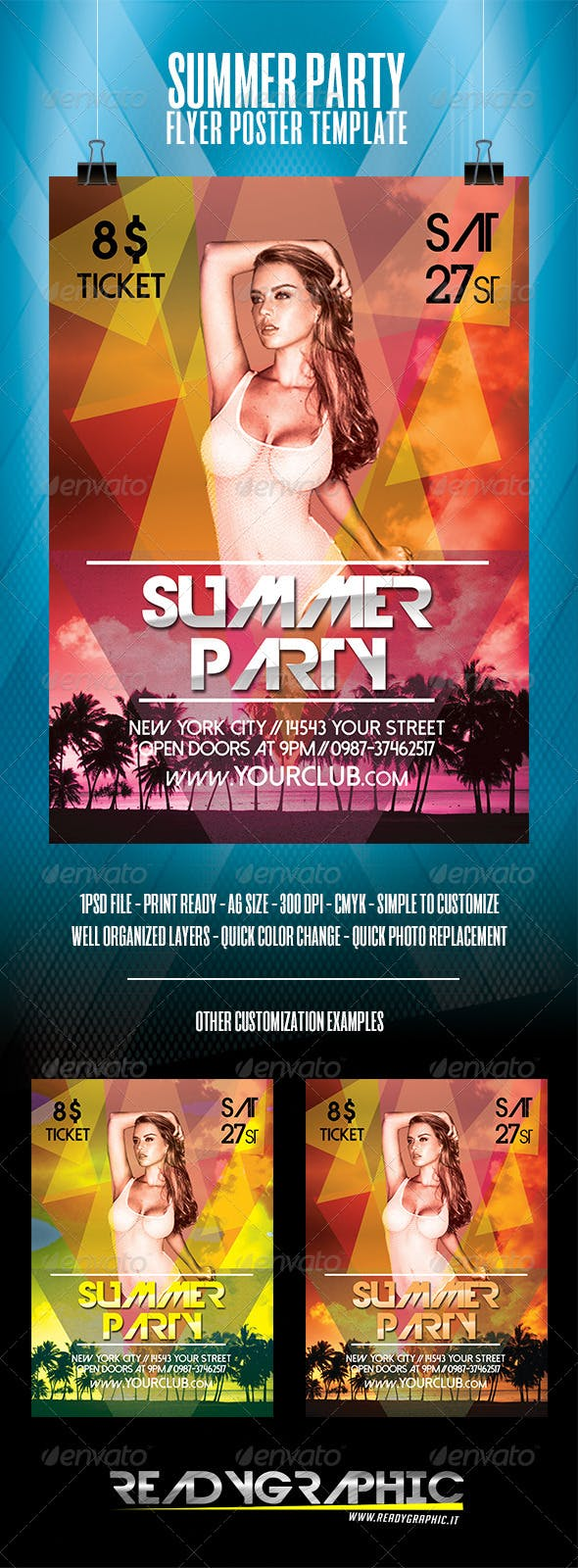 summer party flyer poster template by readygraphic graphicriver